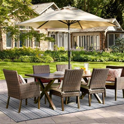 halsted  pc wicker patio dining set tan threshold products patio dining chairs patio
