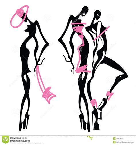 vector illustration of a stylish beautiful fashionable girls royalty free stock photo