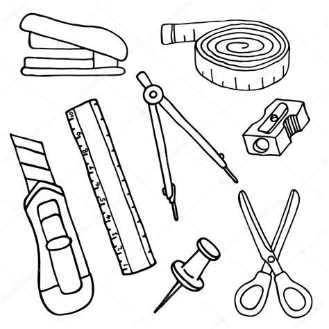 Imagenes De Utiles Escolares A Blanco Y Negro | conjunto de dibujo elementos de papeler 237 a y 250 tiles