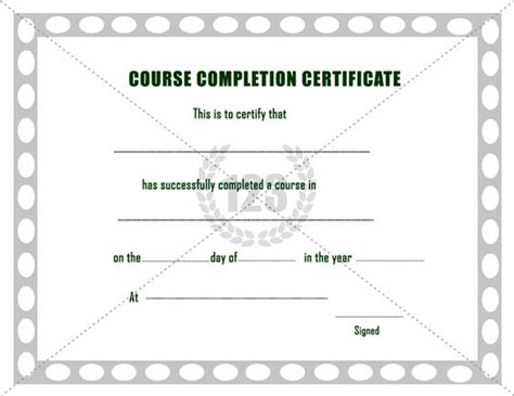 sle course completion certificate template free course completion certificate template