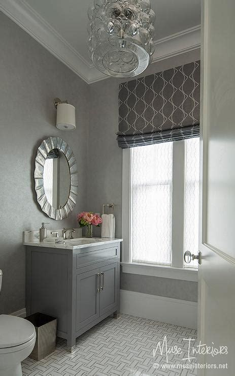 Mosaic Sconces Powder Room With Gray Floor Tiles Design Ideas