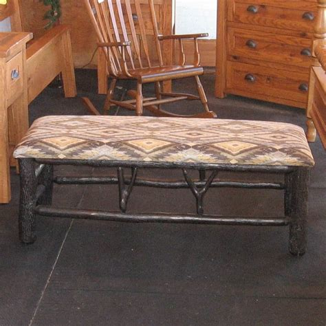 rustic hickory fabric covered bench shown  rustic