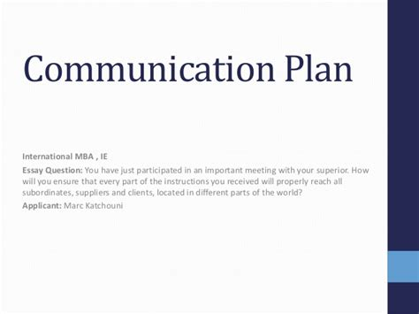 Ie Mba Application ie mba application communication plan