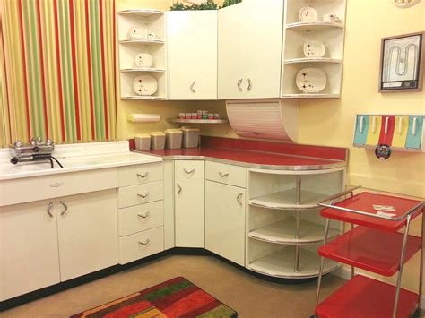 mid century kitchen ideas colorful streaky wallpaper beside white storage for
