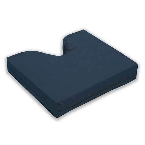 memory foam coccyx cushion with navy polycotton zippered cover