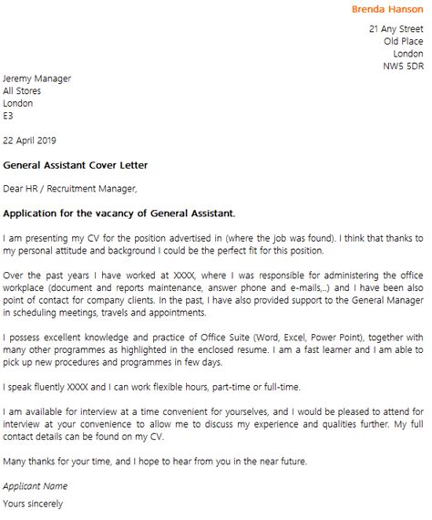 General Office Assistant Cover Letter by General Assistant Cover Letter Exle Icover Org Uk