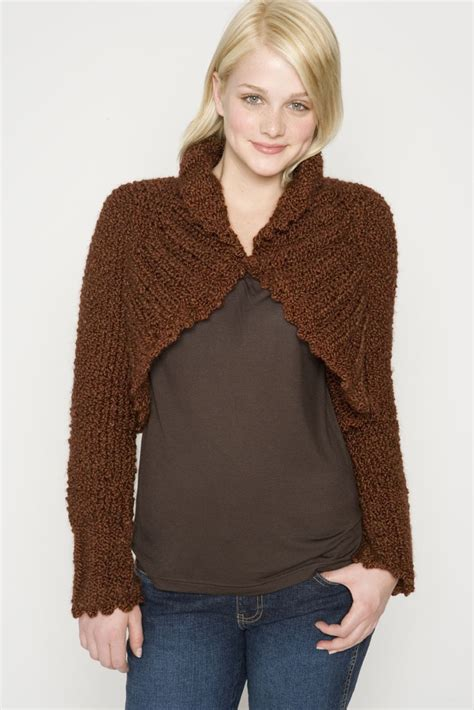 knitted shrug knit shrug in brand homespun 60082ad knitting