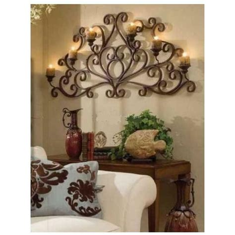 Wrought Iron Candle Sconce by Scrolled Metal Wall Candleholder Wrought Iron Large Candle