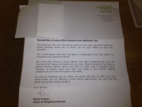 Bedroom Tax Joe Halewood Valleys 2 Coast Housing Association Offers Creme Egg To