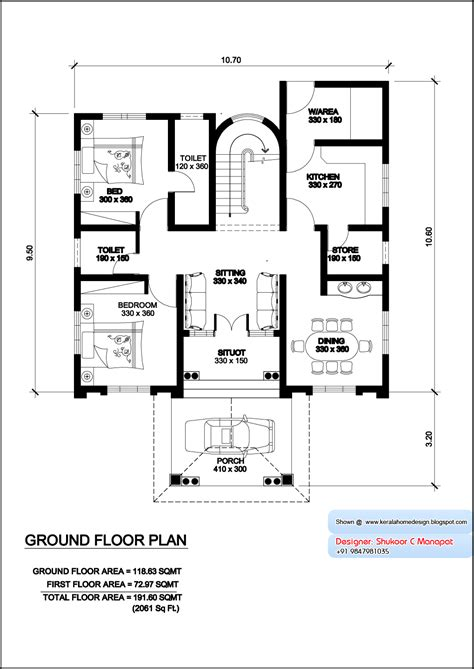 kerala model villa plan with elevation 2061 sq