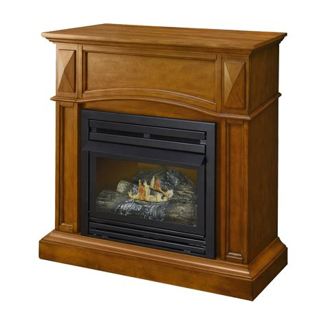 Lowes Corner Fireplace by Shop Pleasant Hearth 35 75 In Dual Burner Vent Free Oak