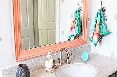 A Colorful Thrifted Bathroom Mirror Withheart Colorful Bathroom Mirrors