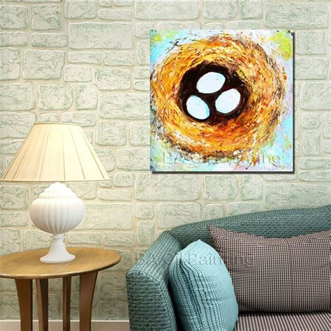 bird oil painting canvas wall art home decor living room free shipping modern hand painted abstract bird nest oil