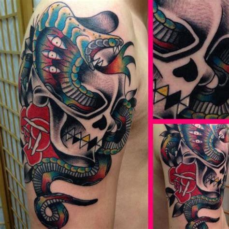 tattoo shoulder old school shoulder snake old school skull tattoo by avinit tattoo