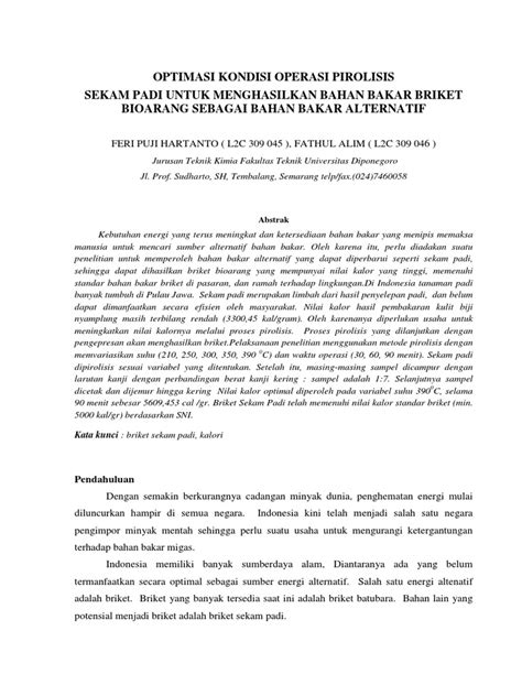 Sekam Bakar Semarang 26 jurnal briket