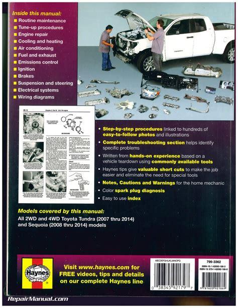 2008 Toyota Tundra Repair Manual Haynes 2007 2014 Toyota Tundra 2008 2014 Sequoia Repair Manual