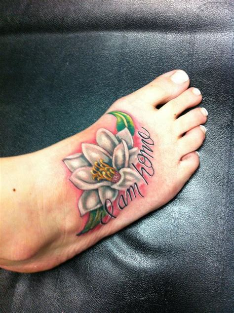 Color Tattoo Archives Larsons Tattooing Flower Foot Tattoos For 2