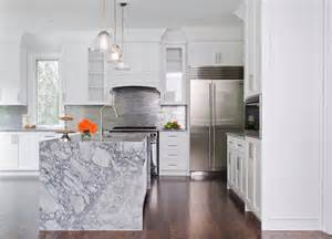 Marble Kitchen Island by Waterfall Marble Kitchen Island Contemporary Kitchen