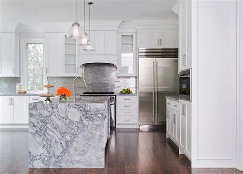 waterfall marble kitchen island contemporary kitchen