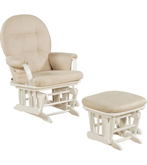 white glider with ottoman shermag glider and ottoman in white 37gr103 g2 0175
