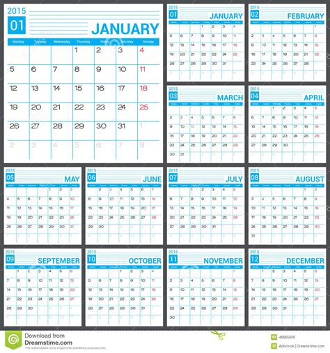 calendar template illustrator calendar 2015 vector desing template stock vector image