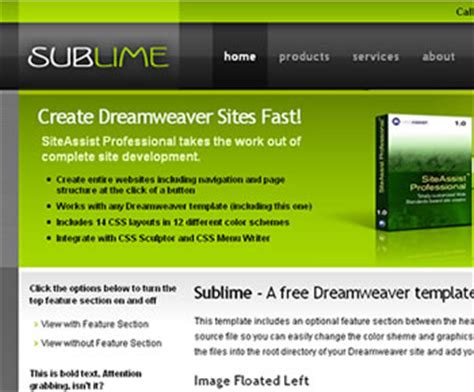 sublime text html template free dreamweaver templates and website templates