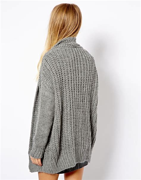 Cardigan Pull And pull pullbear chunky knit cardigan in gray lyst