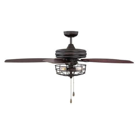 metal ceiling fan with light filament design 52 in rubbed bronze ceiling fan with