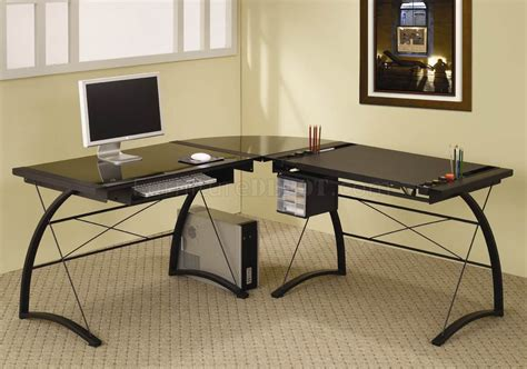 Black Glass Top Metal Base Modern Home Office Desk Glass Home Office Desks