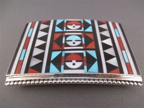 zuni inlay belt buckle by rick vacit two grey