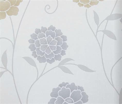 modern floral print wallpaper gray contemporary
