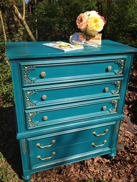 Peacock Blue Dresser by Peacock Blue With Gold Accents Vintage Broyhill Dresser