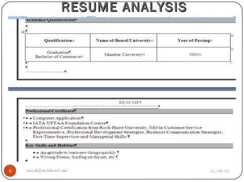 Resume Analysis by Resume Analysis Live 29 11 13 Mini Mba Free