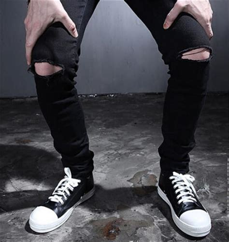 Knee Ripped Celana Sobek Sobek Pria New 1 discount 2015 mens black ripped with on the holes on the knee fashion s distressed