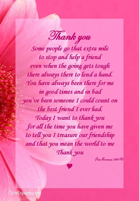 appreciation letter to a special friend thank you for your friendship poem welcome to repin and