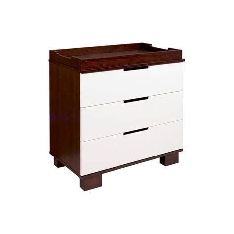 White Wooden Change Table Babyletto Modo 3 Drawer Wood Changing Table W Tray In Espresso White M6723qw