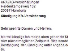 Kfz Versicherung K Ndigen Kravag by Kravag Autoversicherung K 252 Ndigung Vorlage Download Chip