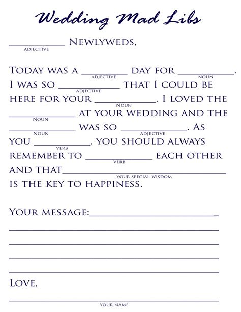 plan a pretty wedding wedding mad libs