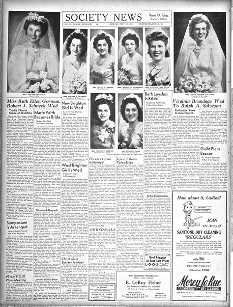 society section newspaper advance historic page from may 17 1943 wedding