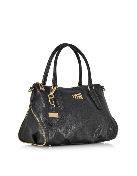 Roberto Cavallis Has Packed Bags by Lyst Class Roberto Cavalli Isabeli Black Eco Leather