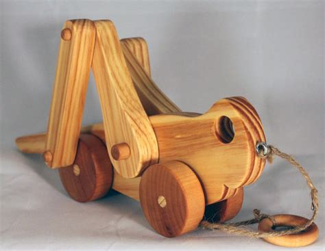Handcrafted Wood Toys - wooden pull grasshopper child safe made eco