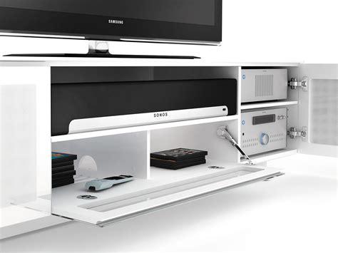 bdi nora slim quad wide tv stand home theatre storage