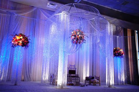 Full crystal mandap design with floating flower