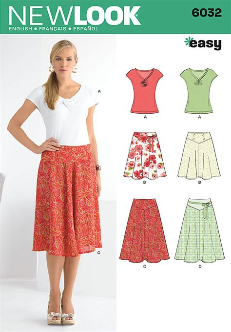 patterns sewing easy new look 6032 misses skirts knit top
