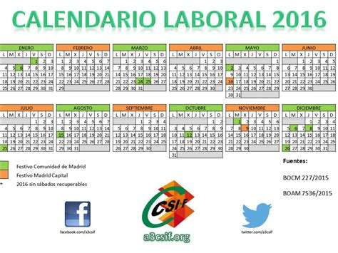 Calendario Oficial 2016 Calendario Laboral 2016 Madrid Capital A3csif A3csif