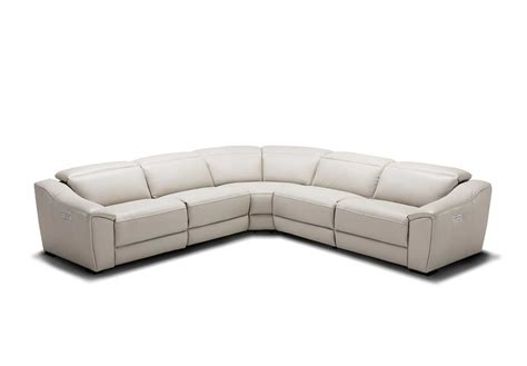 Silver Grey Recliner Leather Sectional Sofa Nj 775 Silver Sectional Sofa