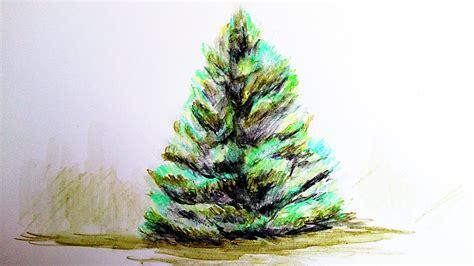 como pintar un arbol de navida como pintar un arbol con lapiz acuarelable como pintar con acuarela paso a paso time
