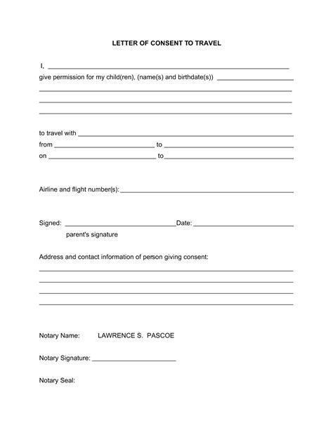 20580321 Png Letter Of Permission To Travel Real State Pinterest Letter Templates Letter Of Consent For Travel Of A Minor Child Template