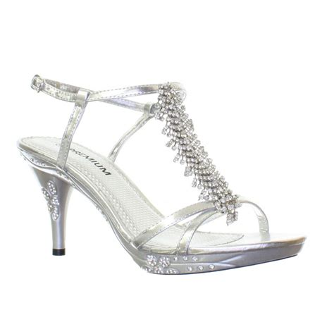 silver kitten heel sandals womens strappy diamante mid kitten heel silver