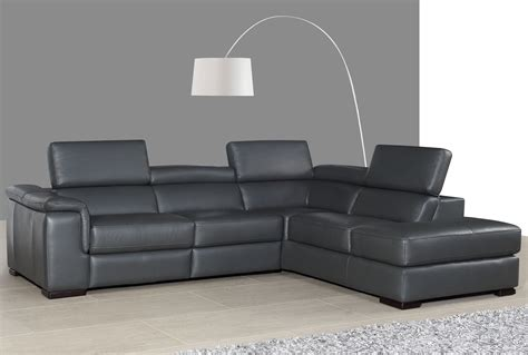 Gray Leather Reclining Sectional by Agata Slate Gray Leather Power Reclining Raf Sectional